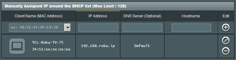 ASUS merlin manually assigned IP